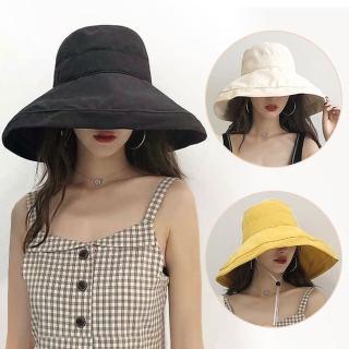 【幸福揚邑】超大帽檐防曬抗UV可捲摺桃絨遮陽帽(黃駝、米、黑)推薦折扣  幸福揚邑