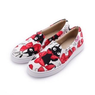 【母子鱷魚】23-25 cm 女鞋 黑貓蝴蝶結帆布鞋 白  母子鱷魚