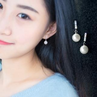 【梨花HaNA】韓國925銀針美好晨光優雅鋯石珍珠耳環真心推薦  梨花HaNA