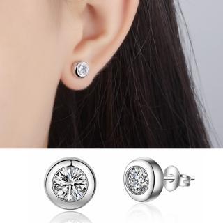 【梨花HaNA】韓國925銀針極簡系列單顆美鑽鋯石耳環  梨花HaNA