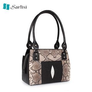 【Sarlisi】泰國真皮珍珠魚皮手提包中包(名媛真愛手提包)強力推薦  Sarlisi