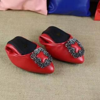 【Sp house】歐美名媛全真羊皮尖頭水鑽蛋捲摺疊鞋(6色全尺碼可選)  Sp house