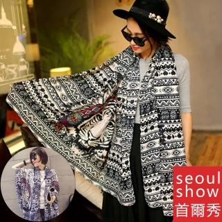 【Seoul Show首爾秀】虎者王風 斜紋人織棉圍巾披肩(防寒保暖)  Seoul Show首爾秀