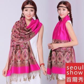 【Seoul Show首爾秀】波西風情 純棉編織圍巾披肩 玫紅(防寒保暖) 推薦  Seoul Show首爾秀