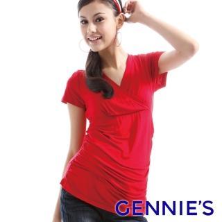 【Gennies 奇妮】簡約素色交叉造型哺乳上衣(紅/灰GNX12)  Gennies 奇妮