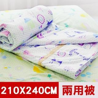 【米夢家居】原創夢想家園系列-台灣製造100%精梳純棉兩用被套(白日夢7X8尺特大)  米夢家居