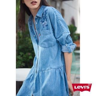 【LEVIS】牛仔連身裙 女裝 / 花卉刺繡 / 前口袋真心推薦  LEVIS