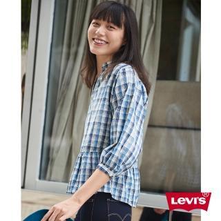 【LEVIS】襯衫 女裝 / 短版7分袖 / 裙式下擺 / 袖口鬆緊帶 / 格紋好評推薦  LEVIS