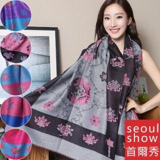 【Seoul Show首爾秀】藏傳花間 仿羊絨雙面提花圍巾披肩(防寒保暖)  Seoul Show首爾秀