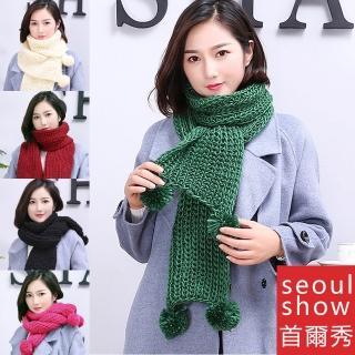 【Seoul Show首爾秀】韓版加厚馬海毛棒針毛球圍巾(男女情侶款)真心推薦  Seoul Show首爾秀