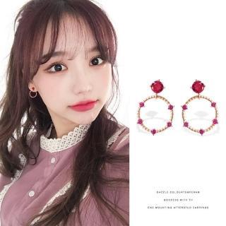 【梨花HaNA】韓國925銀桃紅細緻寶石清麗璀璨圈飾耳環  梨花HaNA
