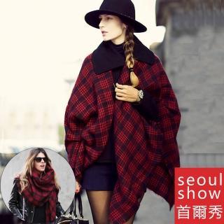 【Seoul Show首爾秀】歐美英倫復古紅黑格子大方巾仿羊絨圍巾披肩(防寒保暖)強力推薦  Seoul Show首爾秀