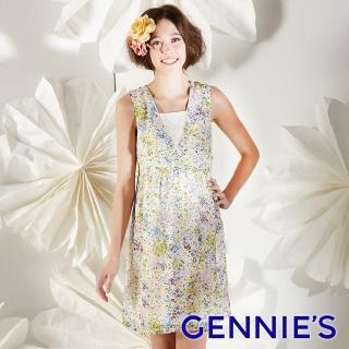 【Gennies 奇妮】春漾優雅深淺花感無袖洋裝(橘彩花/綠彩花G1132)  Gennies 奇妮