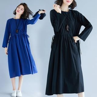 【A.Cheter】文藝素色大碼雙腰綁帶長袖棉麻洋裝102781#*(2色) 推薦  A.Cheter