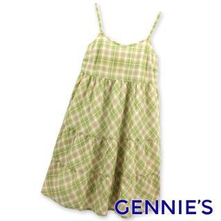 【Gennies 奇妮】輕甜銀蔥格紋細肩帶洋裝(橘格紋/綠格紋G1134)好評推薦  Gennies 奇妮