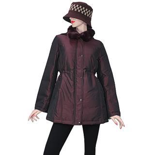 【DAKS】經典格紋可拆式連帽羽絨外套(紫紅色-42)  DAKS