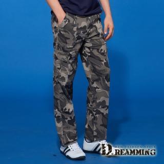 【Dreamming】夏日薄款迷彩伸縮休閒工作長褲(綠灰)  Dreamming