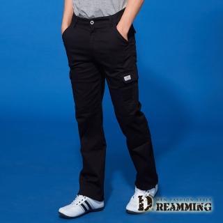 【Dreamming】時尚風潮布標伸縮休閒工作長褲(黑色)  Dreamming