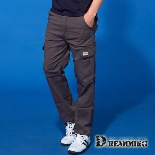 【Dreamming】時尚風潮布標伸縮休閒工作長褲(深灰) 推薦  Dreamming