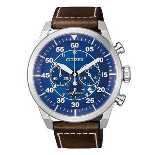 【CITIZEN 星辰】三眼飛行者光動能計時時尚腕錶(CA4210-41L)  CITIZEN 星辰