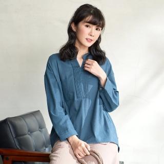 【*KatieQ 慢。生活】風琴摺領寬版上衣-F(藍)好評推薦  *KatieQ 慢。生活