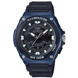 【CASIO 卡西歐】俐落指針男錶 樹脂錶帶 黑X銀/黑X藍/黑X金 防水100米(MWC-100H-2A)  CASIO 卡西歐