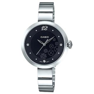 【CASIO 卡西歐】秀氣指針女錶 不鏽鋼錶帶 黑色/粉色/銀白色錶面 防水 可愛四葉草圖樣(LTP-E154D-1A)  CASIO 卡西歐