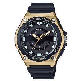 【CASIO 卡西歐】俐落指針男錶 樹脂錶帶 黑X銀/黑X藍/黑X金 防水100米(MWC-100H-9A)推薦折扣  CASIO 卡西歐