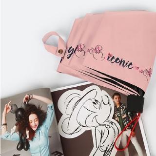 【Disney 迪士尼】米奇米妮抗UV黑膠晴雨摺傘(俏麗米妮_粉)  Disney 迪士尼
