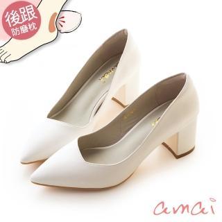 【amai】就是一雙好穿的粗跟鞋(白)強力推薦  amai
