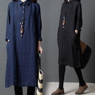 【A.Cheter】日本京都采風寬鬆棉麻長袖織入條紋長洋裝102913*#(2色)真心推薦  A.Cheter