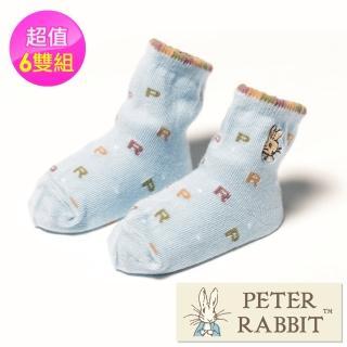 【PETER RABBIT 比得兔】精繡防滑寶寶襪6雙組(專櫃精品)  PETER RABBIT 比得兔