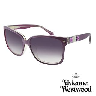 【Vivienne Westwood】英國薇薇安魏斯伍德復古彩繪鉚釘太陽眼鏡(紫 AN752M04)好評推薦  Vivienne Westwood