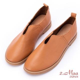 【2.Maa】簡單小牛皮懶人休閒包鞋(亮棕)  2.Maa