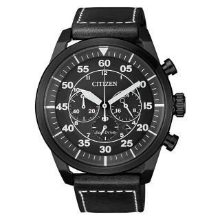 【CITIZEN 星辰】Chronograph 魅力黑皮質感腕錶(CA4215-21H)強力推薦  CITIZEN 星辰