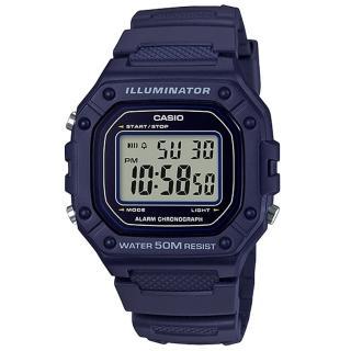 【CASIO 卡西歐】復古電子男錶 樹脂錶帶 藍/綠X黑/黑X紅/黑X橘 防水50米 碼錶功能(W-218H-2A)  CASIO 卡西歐