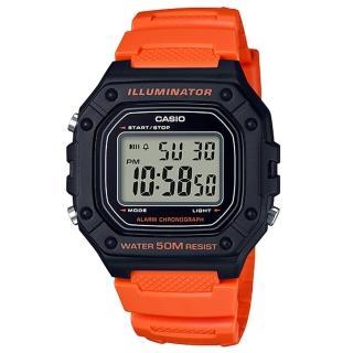 【CASIO 卡西歐】復古電子男錶 樹脂錶帶 藍/綠X黑/黑X紅/黑X橘 防水50米 碼錶功能(W-218H-4B2)真心推薦  CASIO 卡西歐