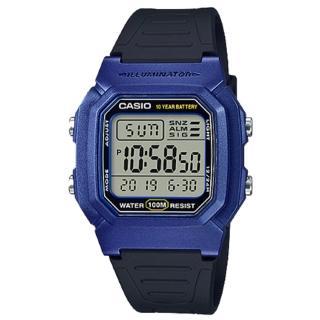 【CASIO 卡西歐】經典電子男錶 樹脂錶帶 藍X黑/綠X黑/銀X黑色錶面 防水100米 10年電力(W-800HM-2A)  CASIO 卡西歐