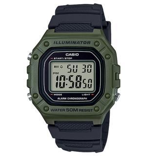 【CASIO 卡西歐】復古電子男錶 樹脂錶帶 藍/綠X黑/黑X紅/黑X橘 防水50米 碼錶功能(W-218H-3A)  CASIO 卡西歐