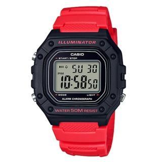 【CASIO 卡西歐】復古電子男錶 樹脂錶帶 藍/綠X黑/黑X紅/黑X橘 防水50米 碼錶功能(W-218H-4B)推薦折扣  CASIO 卡西歐