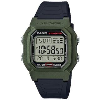 【CASIO 卡西歐】經典電子男錶 樹脂錶帶 藍X黑/綠X黑/銀X黑色錶面 防水100米 10年電力(W-800HM-3A)  CASIO 卡西歐