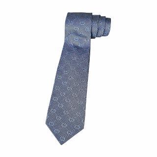 【GUCCI 古馳】經典緹花標誌蠶絲菱格紋設計領帶(香檳藍)  GUCCI 古馳