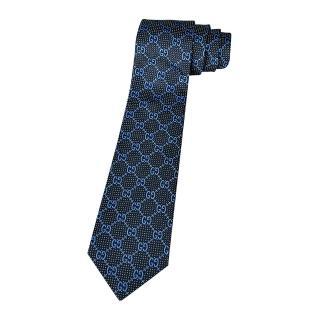 【GUCCI 古馳】經典緹花標誌蠶絲菱格紋設計領帶(海軍藍)推薦折扣  GUCCI 古馳