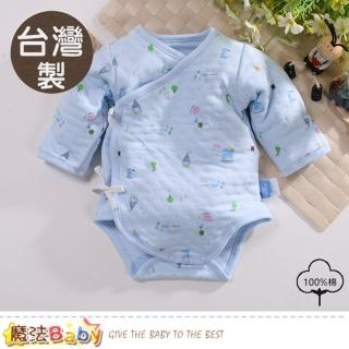 【魔法Baby】包屁衣 台灣製保暖三層棉厚款純棉護手連身衣(b0082) 推薦  魔法Baby