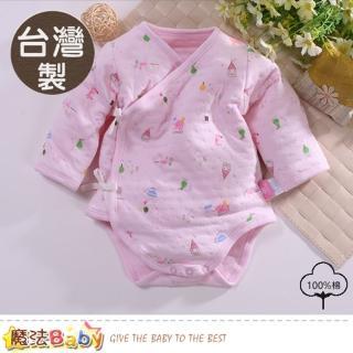 【魔法Baby】包屁衣 台灣製保暖三層棉厚款純棉護手連身衣(b0084)  魔法Baby
