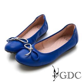 【GDC】真皮基本款蝴蝶結圓頭鬆緊平底舒飾包鞋-藍色(724007)真心推薦  GDC