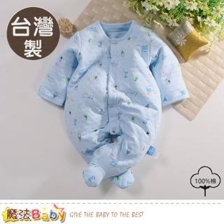 【魔法Baby】包屁衣 台灣製秋冬三層棉厚款護手包腳連身衣(b0091)  魔法Baby
