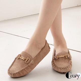 【Caiiy】柔軟麂皮鑲鑽莫卡辛平底鞋D324(黑色/杏色) 推薦  Caiiy