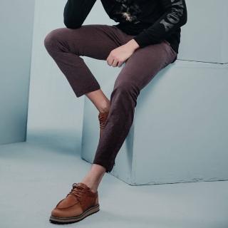 【PLAYBOY】修身拉鍊束腳靴型長褲(紅棕色)  PLAYBOY