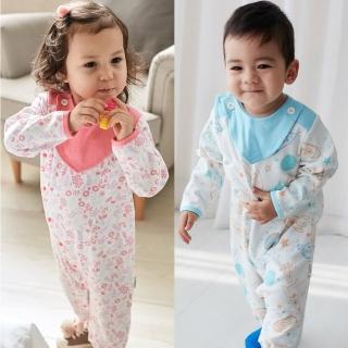 【Baby童衣】連身衣 滿版印花側開爬衣附圍兜 82019(共2色)  Baby童衣